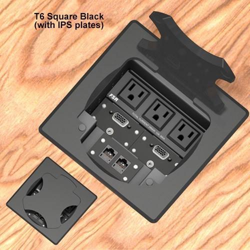 6inch Table box w/ 3 AC, 1LB, 1SM, Black Square Cover