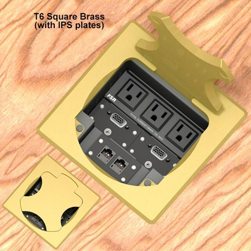 6inch Table box w/ 3 AC, 1LB, 1SM, Brass Square Cover