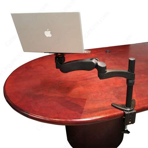 backside of desk mount with laptop