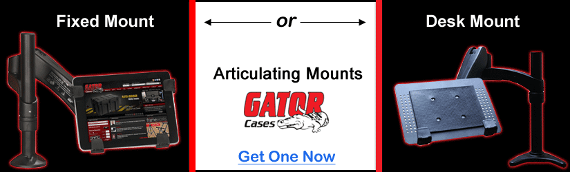 fixed mount and desk mount arms from Gator Cases