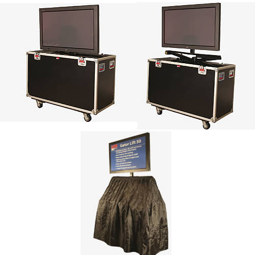 gator g-tour lcd and plasma lift screen case in use with different monitor levels icon