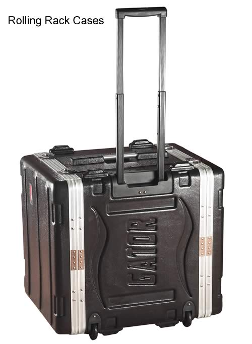 front view of gator cases rolling rack case with extended handle icon
