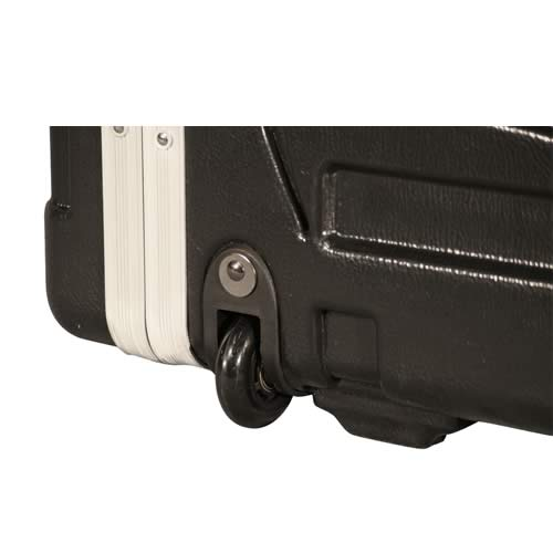 close up of gator cases rolling rack case wheel icon