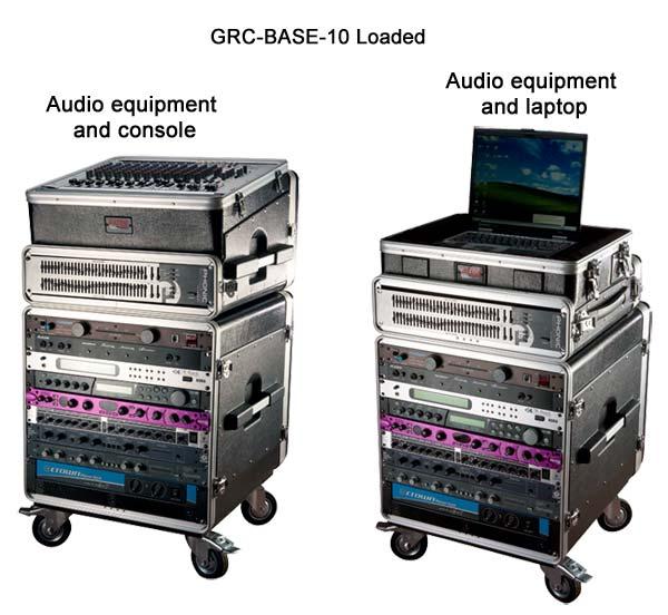 gator industrial standard 10u polyethylene rack loaded wituh audio equipment and laptop icon