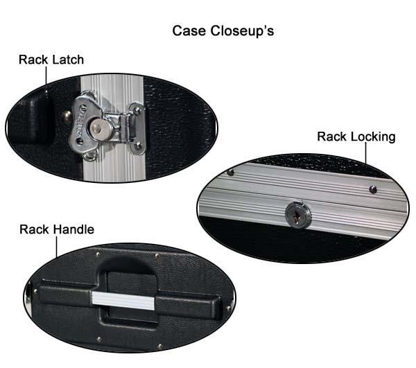 close ups of gator industrial standard 2u polyethylene rack latch lock and handle icon