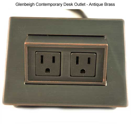 glenbeigh contemporary desk outlet in antique brass open icon