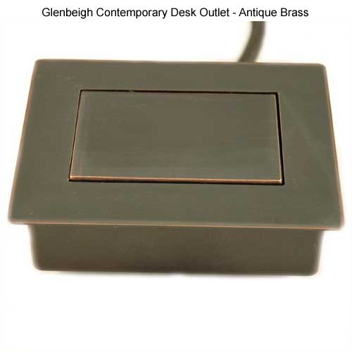 glenbeigh contemporary desk outlet in antique brass closed icon