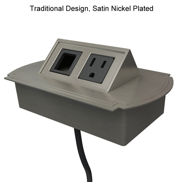 glenbeigh traditional desk outlet in satin nickel