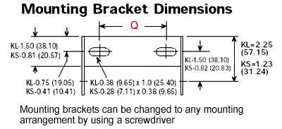 dimensional drawing of KL mounting bracket