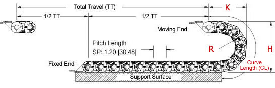 side view drawing of SP series