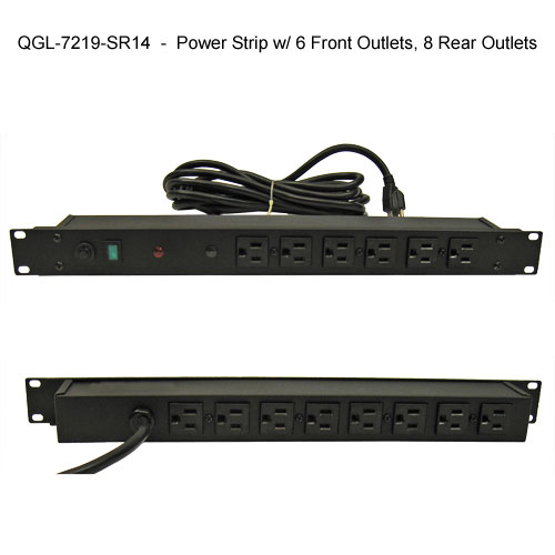 great lakes power strip with 6 front outlets and 8 rear outlets icon