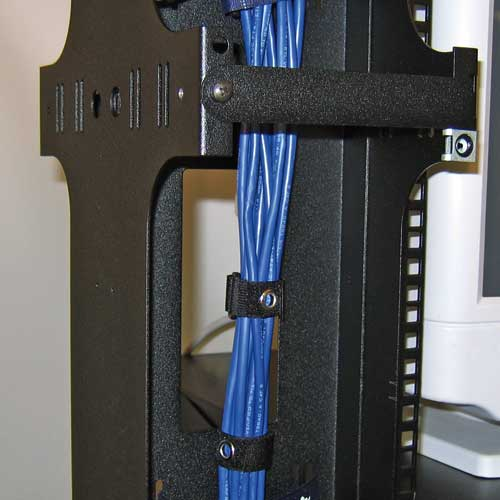 great lakes double sided vertical cable manager in use icon