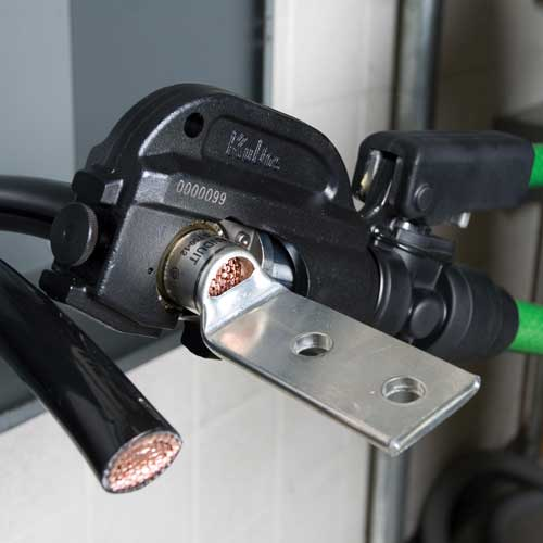 close up of greenlee 12 ton hydraulic crimping tool in use icon