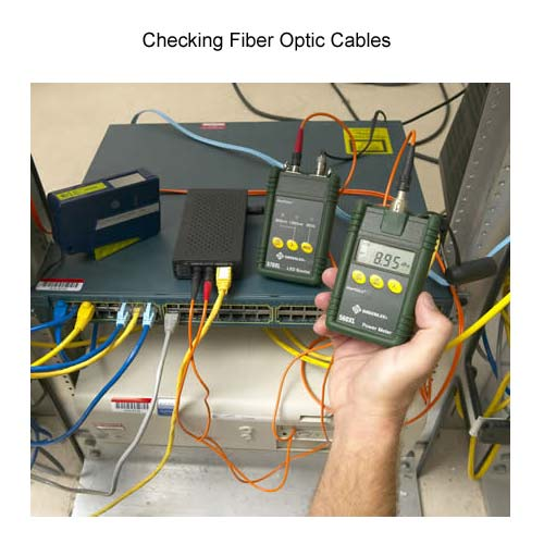 greenlee 5670 fiber optic test set in use on fiber optic cables icon