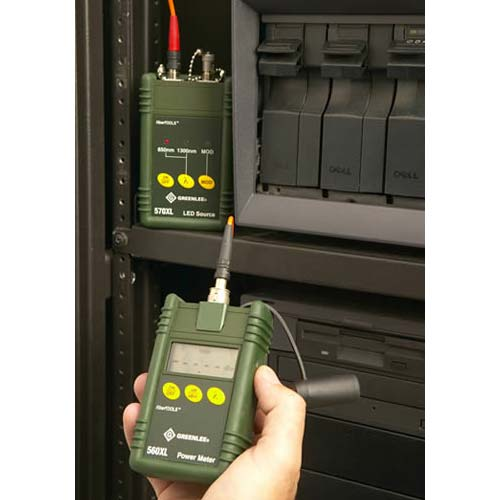 close up of greenlee 5670 fiber optic test set in use on fiber optic cables icon