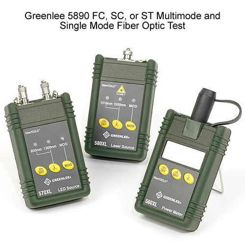 Greenlee 5890 FC, SC, or ST Multimode and Single Mode Fiber Optic Test Set w/FC, SC, or ST Interface
