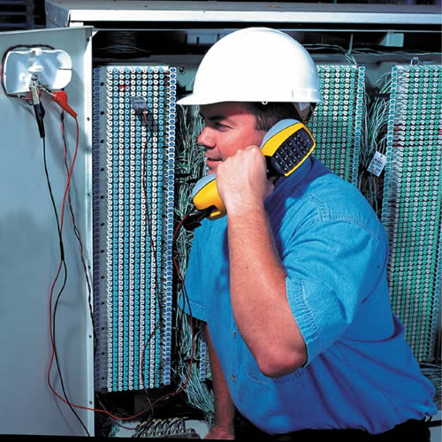 electrician testing telephone lines - icon