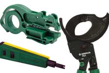 Greenlee cable strippers, cutters, punchdown tool