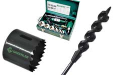 Greenlee hole cutters, punch drivers, augers