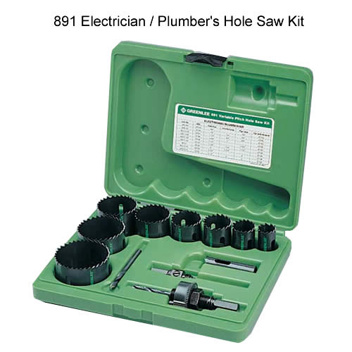 greenlee 891 electrician and plumbers hole saw kit - icon