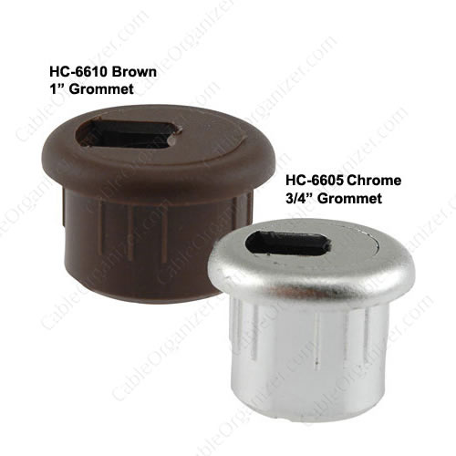 two piece fax and phone wire grommets in gray black chrome white brown gold and almond colors - icon