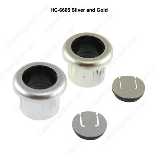 brown one inch two piece fax and phone wire grommet and chrome three quarter inch two piece fax and phone wire grommet - icon