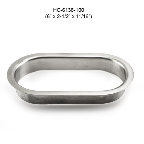 Oval Stainless Steel Grommet, 6in by 1-1/2in by 11/16in