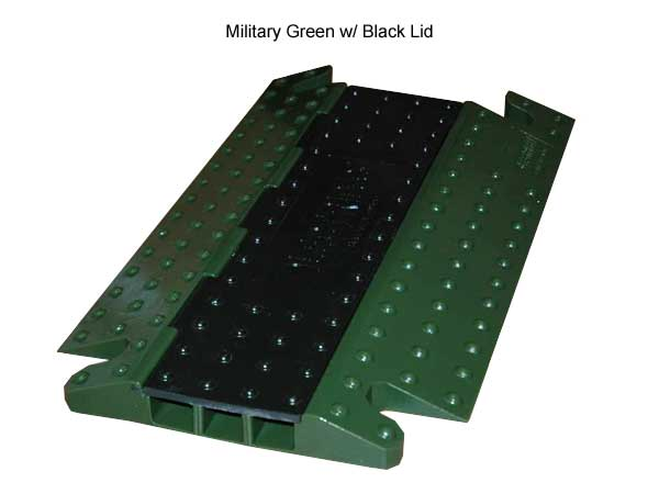 military green electriduct hawk cable protector with black lid - icon
