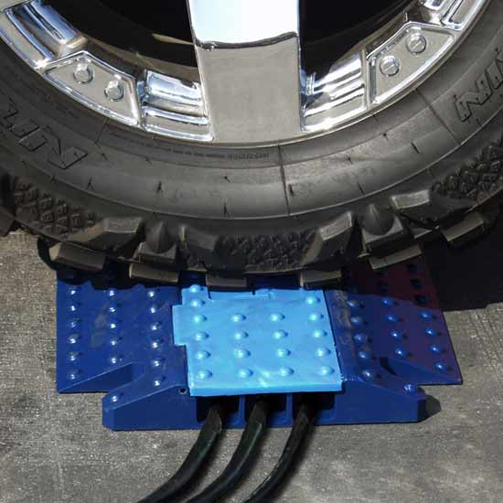 dark blue electriduct hawk cable protector with light blue lid in use - icon