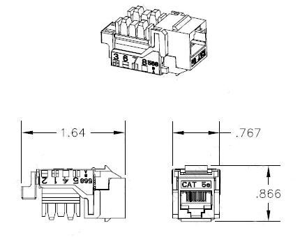 dimensional diagram for CAT5e jack