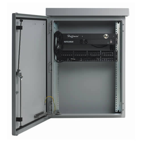 hoffman comline osp wall nount cabinet with door open and components mounted - icon