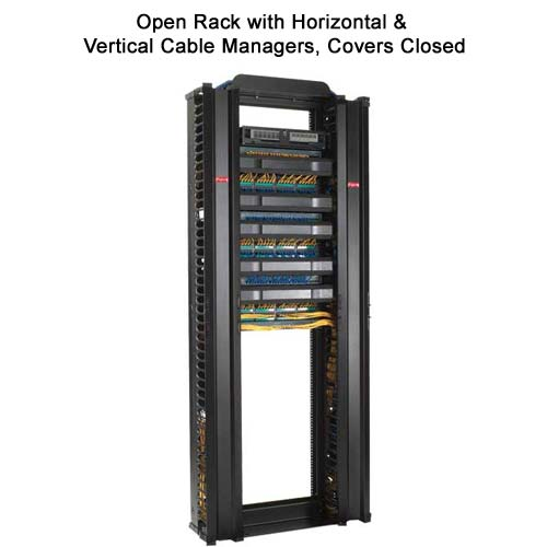 open rack with closed hoffmann vertical and horizontal cable managers - icon