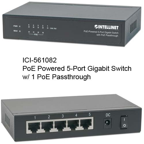 561082 PoE-Powered 5-Port gigabit Switch with 1 PoE Passthrough