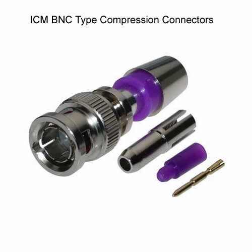 icm bnc type compression connector in pieces with purple liner - icon