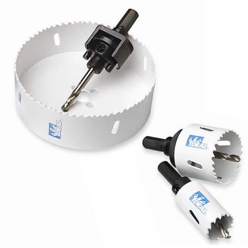 ideal industries hole saw arbors in various sizes with hole saws - icon