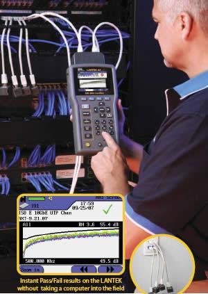 ideal industries lantek 10 gigabit alien crosstalk testing kit in use - icon