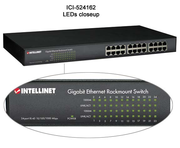 close up of leds on ic intracom intellinet gigabit 24 port rack mount ethernet switch - icon
