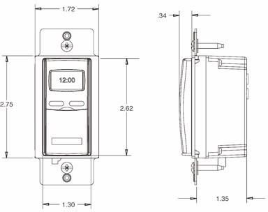 dimensional diagram of EI500 timer
