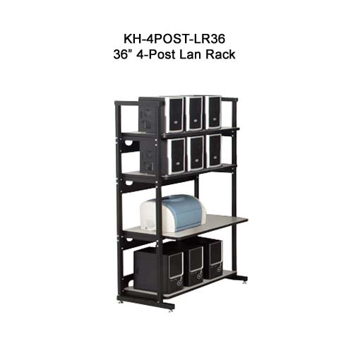 kendall howard performance plus heavy duty 36 inch four post lan rack in use icon