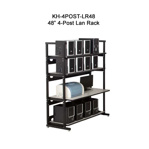 kendall howard performance plus heavy duty 48 inch four post lan rack in use icon