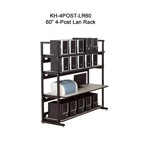 kendall howard performance plus heavy duty 60 inch four post lan rack in use icon