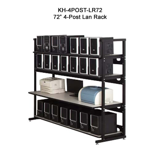 kendall howard performance plus heavy duty 72 inch four post lan rack in use icon