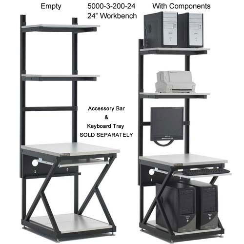 kendall howard performance series 24 inch computer workbench empty and with components - icon