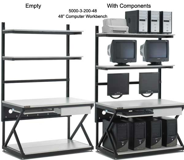 kendall howard performance series 48 inch computer workbench empty and with components - icon