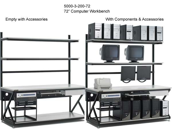 kendall howard performance series 72 inch computer workbench empty and with components - icon