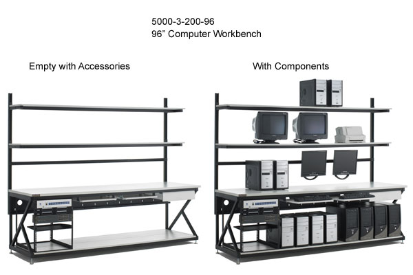 kendall howard performance series 96 inch computer workbench empty and with components - icon