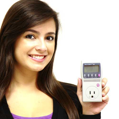 Young lady holding a Kill A  Watt Electricity Usage Monitor - icon
