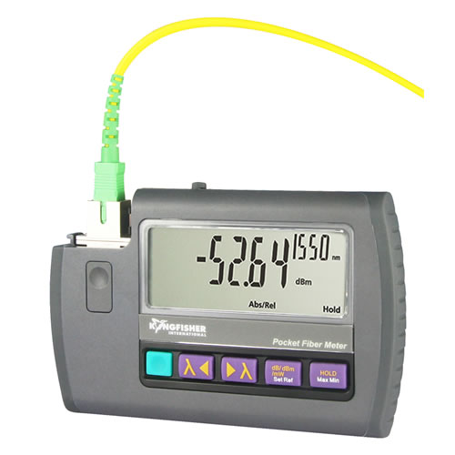 kingfisher ki 9600 series optical power meter powered on with fiber connected - icon