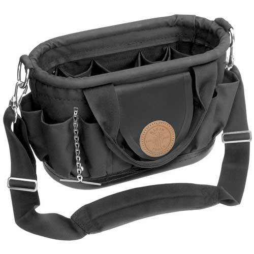klein tools 17 pocket tool tote with shoulder strap front view - icon