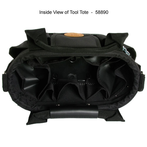 klein tools 17 pocket tool tote with shoulder strap inside view - icon